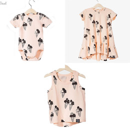 $enCountryForm.capitalKeyWord Australia - wholesale Clearance Brand CLothing For Kids Girls Ice Cream Dresses Baby Ice Cream Romper Brother Sister Matching Twins