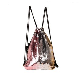$enCountryForm.capitalKeyWord Australia - Women Sequins String Backpack Glittering Bling Bags Reversible Glitter Drawstring Bags For Women 2018 New Beach Bag