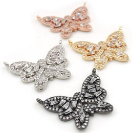 $enCountryForm.capitalKeyWord Australia - 26*19*3mm Micro Pave Clear CZ Butterfly Charms Of Double Loops Fit For Men And Women Making Necklaces Jewelry