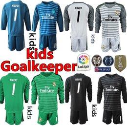 bf75925f6ad 2019 2018 Kids Youth Long 1 NAVAS 25 Courtois Real Madrid Jerseys Goalkeeper  Soccer Sets Kits Boy Benzema Bale Children Football Uniform