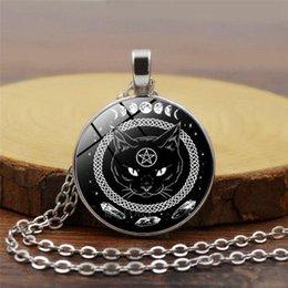 $enCountryForm.capitalKeyWord Australia - Black cat pendant necklace round time gemstone glass necklace pentagram necklaces
