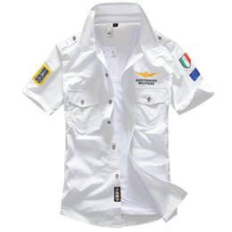 Military Collar Shirts Australia - New 6xl Military Men's Short Sleeve Shirts Summer Fashion Embroidered High Quality Cotton Air Force One Ma1 Casual Shirt Ae12002 Y190506