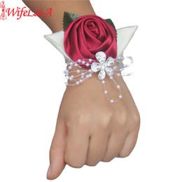 $enCountryForm.capitalKeyWord NZ - 100% Handmade 2piece Wine Red Crystal Bouquet Corsage Diamond Satin Rose For Wedding Bride Wrist Flowers Sw0677y C19041701