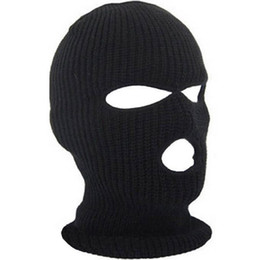 Skull face cover online shopping - Full Face Cover Mask Three Hole Balaclava Knit Hat Winter Stretch Snow Mask Beanie Hat Cap New Black Warm Face Masks