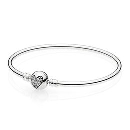 $enCountryForm.capitalKeyWord Australia - Authentic 925 Sterling Silver Bangles & Bracelets for Women Love Heart of Winter Clasp fit Lady Charms
