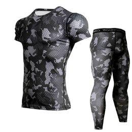 $enCountryForm.capitalKeyWord UK - Camouflage Men's Running Suits Crossfit Tracksuit Jogging Compression Set Men Short Sleeve T Shirt Leggings Gym Fitness Tights