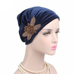 beanies hombres 2019 - Women chapeau femme India Muslim Butterfly Stretch Cotton Floral Turban Hat Head Scarf Wrap Cap gorro invierno hombre W8