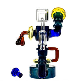 New desigN hookah online shopping - New design recycler robot colorful bong heady wax bongs dab rig quartz banger glass water pipe oil rigs glass pipes hookahs