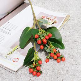$enCountryForm.capitalKeyWord Australia - Long Branch Fake Mini Peach Fruit Artificial Flowers For Home Hotel Decor Wedding Decoration Flores With Silk Leaves
