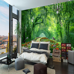 paper house small Australia - Nature Landscape 3D Wall Mural Wallpaper wood park small road mural Living Room TV Backdrop Photo Wallpaper For Bedroom Walls