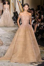Apple Sleeves Australia - Evening dress Yousef aljasmi Labourjoisie Zuhair murad James_paul 1A-Line Off-Shoulder Short Sleeve Gold Organza Crystal Pockets Long Dress