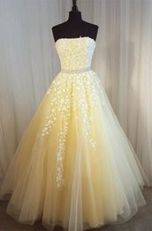 $enCountryForm.capitalKeyWord Australia - Elegant Light Yellow Strapless Evening Prom Dresses Lace Sequins Beaded A line Rhinestones Corset Back Long Cheap Pageant Formal Dress