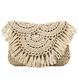 straw clutches UK - Womens Bag Straw Weave Crossbody Bag Shoulder Bags Tassel Semicircle Flap Purse Women Messenger Bags Female Clutch Handbags Designer H 32af#