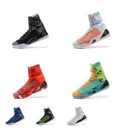 Kobe Shoes High Tops NZ - Mens kobe 9 elite high tops basketball shoes for sale Christmas Red Multi Easters BHM Black White MVP what the kb ix sneakers boots