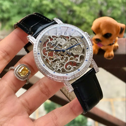 Cheap Black Diamond Watch UK - All work LEATHER BELT diamond BEZEL 42MM CASE cheap HOT mechanical automatic men watch wholesale fashion new Stainless steel mens watche