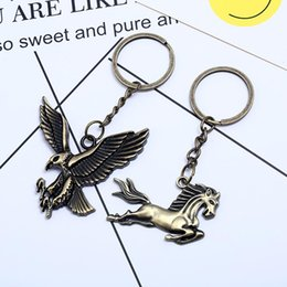 eagle decor UK - Vintage Pony Eagle Pendant Keychain Key Ring Bag Car Hanging Ornament Decor New