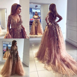 Celebrity inspired mermaid gowns online shopping - Luxury Mermaid Prom Dress With Overskirt V Neck Pearls Sequin Beads Long Sleeve Celebrity Dress Fashion Arabic Dubai Evening Gowns