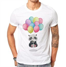 Short Balloon Tops Australia - Summer Lovely T-shirt Men Balloons Panda Animal Printed Men T Shirt White Short Sleeve O-neck Fashion Casual Tops
