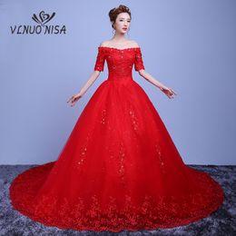 $enCountryForm.capitalKeyWord NZ - wholesale High Grade Red Lace Wedding Dress Elegant Boat Neck Appliques Sequin Court Train Bridal Gown Vestidos De Noiva 20