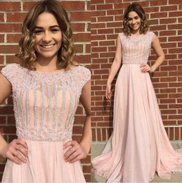 Vintage Real Pearls Australia - Real Image Champagne Pearls Evening Dresses A-line Chiffon Beaded Prom Gowns O-neck Short Sleeves Modest Abendkleider 2019
