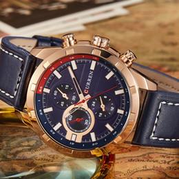 Round Clock Men Australia - Curren 8216 Men Leather Casual Watch Quartz Date Clock Man Sport Watches Men's Wristwatch Relojes Hombre Wholesale