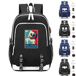 kids skull school bag 2019 - DJ marshmello school bag usb laptop backpack for girls boys teenagers children's cool bookbag kids handbags cheap k