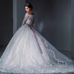 Wholesale sexy slim bow skirt for sale - Group buy Ball Gown wedding dress Slim Fit Shoulder Long Sleeve Wedding Dress Trailing Sexy Backless Lace Bridal Wedding Dress