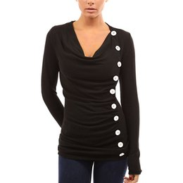 $enCountryForm.capitalKeyWord NZ - 2019 New Fashion T-shirts for Women Drape V Neck Female T-Shirt 10 Buttons Decoration Long Sleeve Tee Shirt Femme Pullover Tops