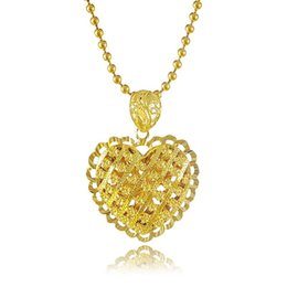 Hollow gold Heart cHains online shopping - New Arrivals K Pure Gold Pendants Necklace Delicate Graceful Hollow Heart Pendant with Strand Chain Hot Selling Jewelry