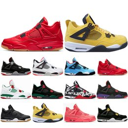 Table Cat Box Australia - Special Offer New Bred Pale Citron Tattoo 4 IV 4s men Basketball Shoes Pizzeria Singles Day Black cat mens trainers designer Sport Sneaker