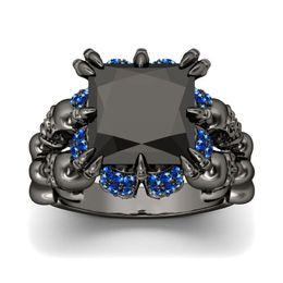 Sapphire Wedding Band Gold Australia - Vintage Punk Fashion Jewelry Wholesale 925 New Brand 10KT Black Gold Filled Big Blue Sapphire Diamond Women Wedding Skull Band Ring Gift Box