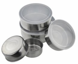 $enCountryForm.capitalKeyWord Australia - Hoomall 5pcs Portable Food Crisper Round Shape Stainless Steel With Lid Container Storage Case For School Picnic Kitchen Tools Q190531