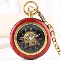 Unique Round Vintage Glasses Australia - Vintage Red Sandalwood Hand-winding Mechanical Pocket Watch for Men Unique Rose Gold Roman Digital Alloy Chain Pendant Watches Necklace