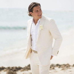 Groom suits for beach weddinG online shopping - Summer Beach Ivory Linen Men Suits For Wedding Suits Groom Wear Custom Made Bridegroom Slim Fit Casual Tuxedos Best Man Blazer Jacket Pants
