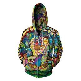 Men's Clothing Humorous 2018 New 347 Galaxy Colorful Graffiti Monkey Printed Women Jacket Hooded Femme Sweatshirt Casual Loose Men Pocket Hoodies Coat