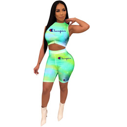 Neck yoga online shopping - Women Champion Vest Tracksuit Summer Crop Tank Top Bodycon Shorts set Outfits Yoga Tight Shorts Gradient Color Sportwear A32702