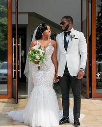 Crystal Images Wedding Australia - 2019 gorgeous Mermaid African Plus Size Wedding Dresses spaghetti crystal Beaded sweep Train Wedding Bridal Gowns cheap Vestidos De Novia