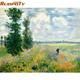 Discount oil field art - RUOPOTY Frame Picture Field Landscape DIY Painting By Numbers Hand painted Oil Painting Modern Wall Art Picture For Home