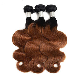 Quality brazilian unprocessed hair online shopping - Unprocessed Brazilian Ombre Hair Body Wave Straight Remy Hair Weaves B Double Wefts High Quality
