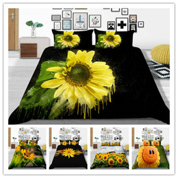 sunflower prints fabric Australia - New Style 3D Fashion Beautiful Sunflower Printed Bedding Sets 2 3Pcs Set Duvet Cover Set Black Background Bed Sheet 2019 Bed