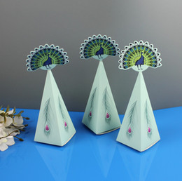 triangle candy bags UK - 2020 Peacock Candy Boxes Triangle Peacock Feather Wedding Gift Boxes Party Supplies Candy Bag Chocolate Boxes