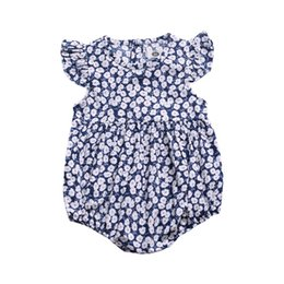 bb9f19e2da5d Blue Flower New Arrival Baby Girls One Piece Rompers INS Newborn Girls  Jumpsuits Fly Sleeve Summer Casual Fashional Baby Girls Bodysuits