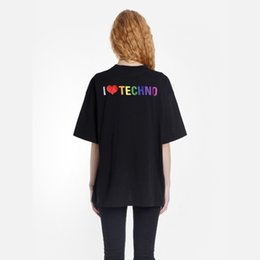 $enCountryForm.capitalKeyWord UK - 19SS I Love TECHNO T-shirt Designer Embroidery Fashion Tee Oversize Print Pattern Loose Men Women Short-sleeved T-shirt HFTTTX036