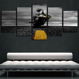 motorcycle painting art 2020 - 5 Panels Highway Motorcycle Artworks Giclee Canvas Wall Art Abstract Poster Canvas Print Oil Painting Wall Decor cheap m