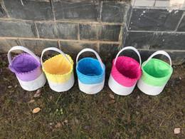 $enCountryForm.capitalKeyWord Australia - Dot Easter Baskets 5 Colors Round Ruffles Canvas Cute Bunny Gift Bag With Handle Easter Tote Bag Bucket Rabbit Ears Put Basket Storage Bag