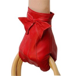 Real Leather Gloves For Men Australia - Sheepskin Women Gloves Promotion 2018 Limited Wrist Bow-knot Glove Solid Fashion Real Genuine Leather For Dressing L055PQ-5