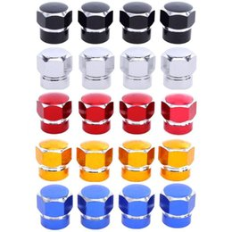 bicycle stem NZ - 4 Pcs Universal Aluminum Auto Bicycle Car Tire Valve Caps Tyre Wheel Hexagonal Ventile Air Stems Cover Airtight Rims Accessories
