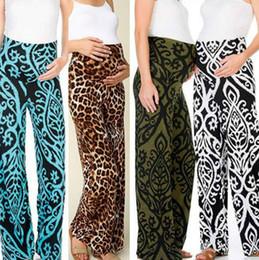 Wholesale wide leg work pants for sale – dress Maternity Pants Women Wide Leg Pants Bohemia Leopard Versatile Comfy Lounge Stretch Pregnancy Trousers Soft Yoga Work Planet Pants D6236
