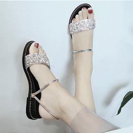 $enCountryForm.capitalKeyWord NZ - Women Shoes Sandals Women Platform Sandals Summer Slippers Crystal Bling Glitter Shoes Korea Style Flat Open Toe Silver