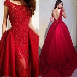 $enCountryForm.capitalKeyWord NZ - Hot Sell Scoop Mermaid Lace Applique Beaded Detachable Train Evening Dresses Beautiful Cocktail Pageant Gowns Custom Made Evening Gowns